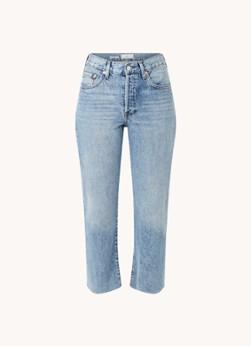 MANGO Havana high waist straight leg cropped jeans met lichte wassing