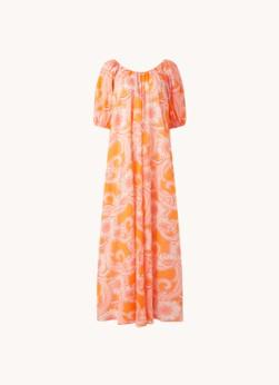 MANGO Anita maxi jurk met bloemenprint en pofmouw