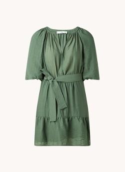 MANGO Feroe mini jurk met pofmouw en strikceintuur