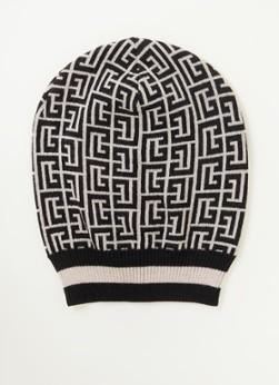 Balmain FIjngebreide muts van merino wol met logoprint