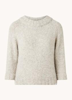 Penn & Ink Grofgebreide pullover in wolblend met driekwart mouw online kopen