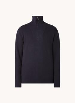 Bright fijngebreide pullover met opstaande kraag en halve rits