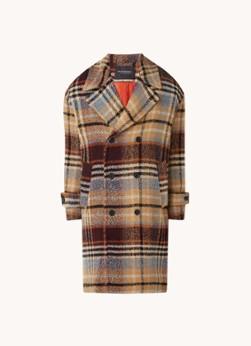 Double breasted gewatteerde mantel met ruitdessin