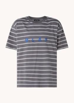 Olaf Hussein T-shirt met streepprint en logoborduring