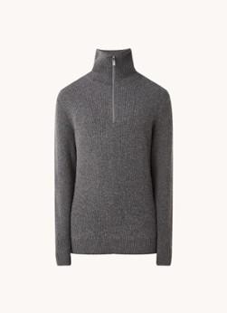 Arlan T grofgebreide pullover in wolblend met halve rits