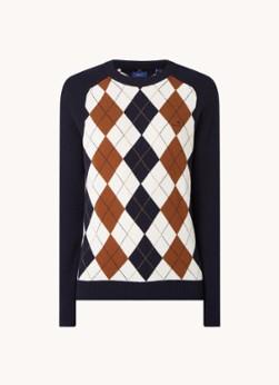 Fijngebreide pullover van lamswol met ruitdessin