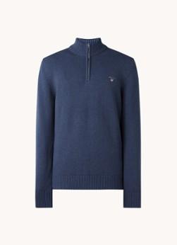 Fijngebreide pullover met halve rits en logoborduring