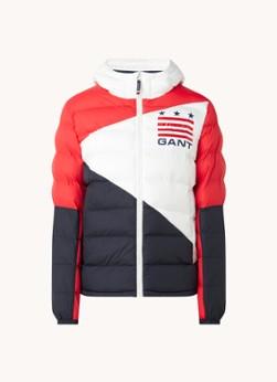 Gewatteerde jas met colour blocking en logoprint