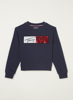 Tommy Hilfiger Sweater met logoprint en pailletten