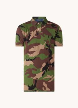Custom slim fit polo van piqué katoen met camouflageprint