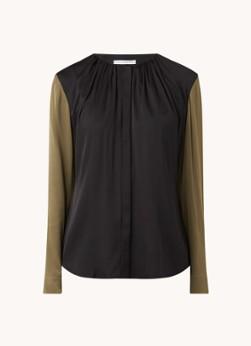 HUGO BOSS Banora blouse van zijde met plooidetail