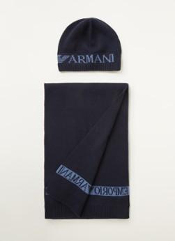 Emporio Armani Set met fijngebreide sjaal en muts in wolblend