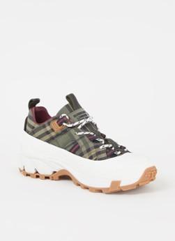 Arthur sneaker met kalfsleren details en ruitdessin