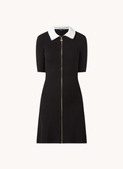 Maje Roseta ribgebreide mini jurk met kraag