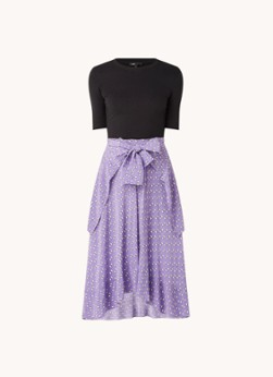 Maje Midi jurk met print en knoopdetail