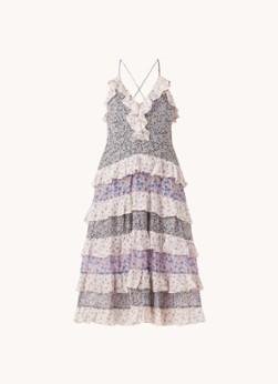 Maje Rissola maxi jurk met bloemenprint en volant