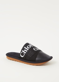 Chloe Chloé Woody pantoffel met kalfsleren details online kopen