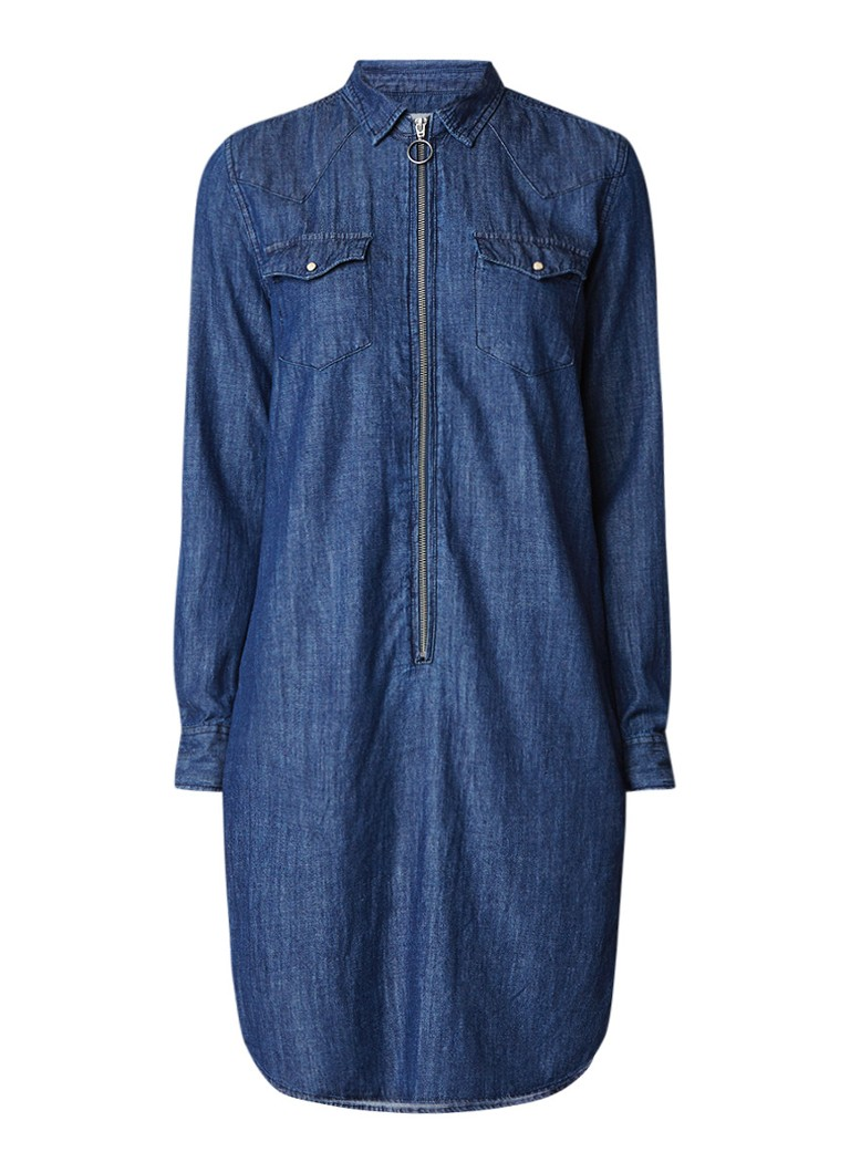 America Today Dakota denim blousejurk met halve rits indigo