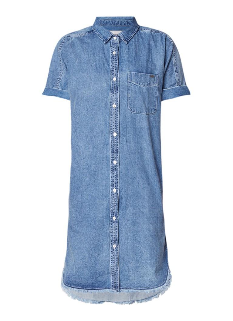 America Today Devon midi-jurk van denim met doorlopende knoopsluiting indigo