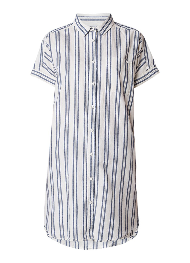 America Today Devon blousejurk in linnenblend met streepdessin lichtblauw