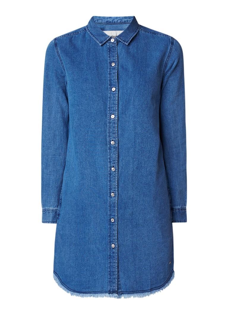 America Today Demi blousejurk van denim met gerafelde boord indigo