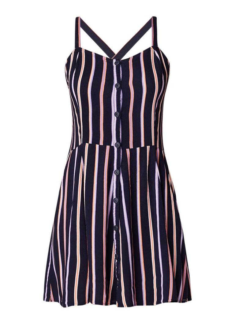 America Today Dianna cross back midi-jurk met dessin blauw