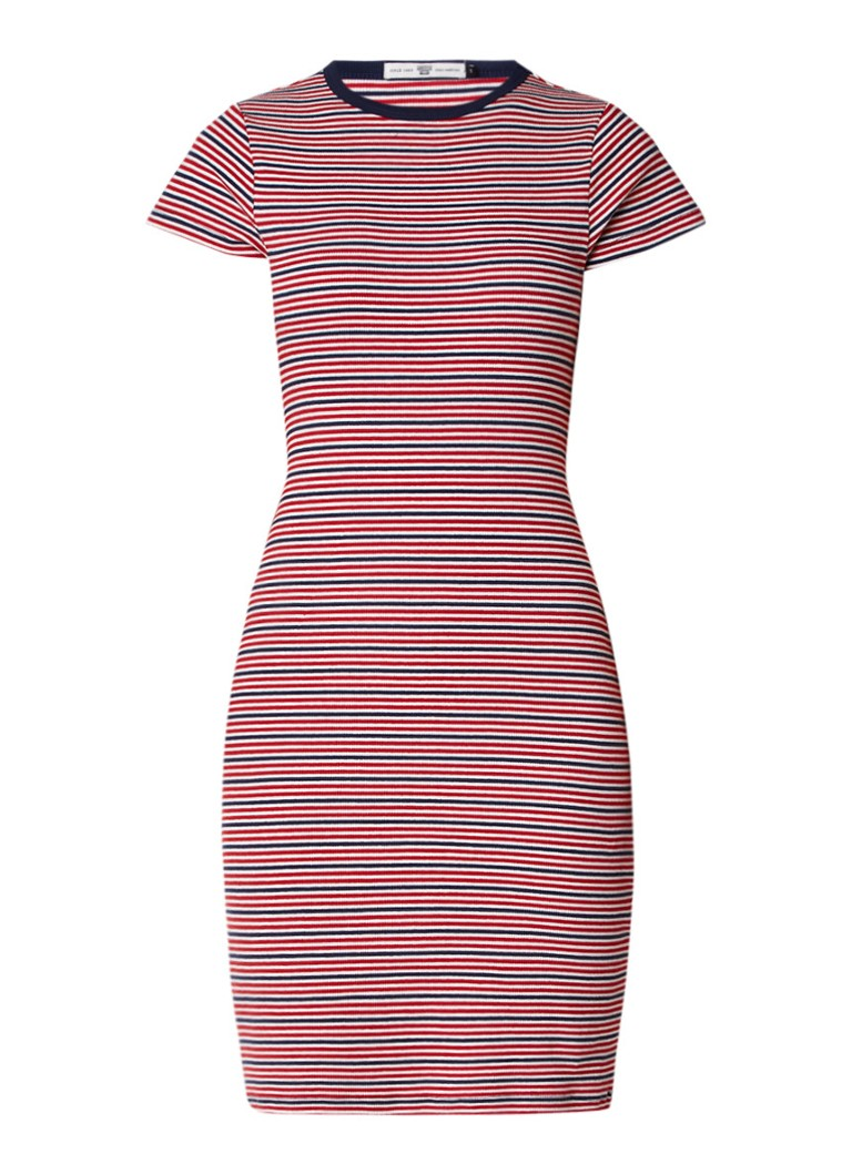 America Today Debby bodycon jurk van jersey met streepdessin rood