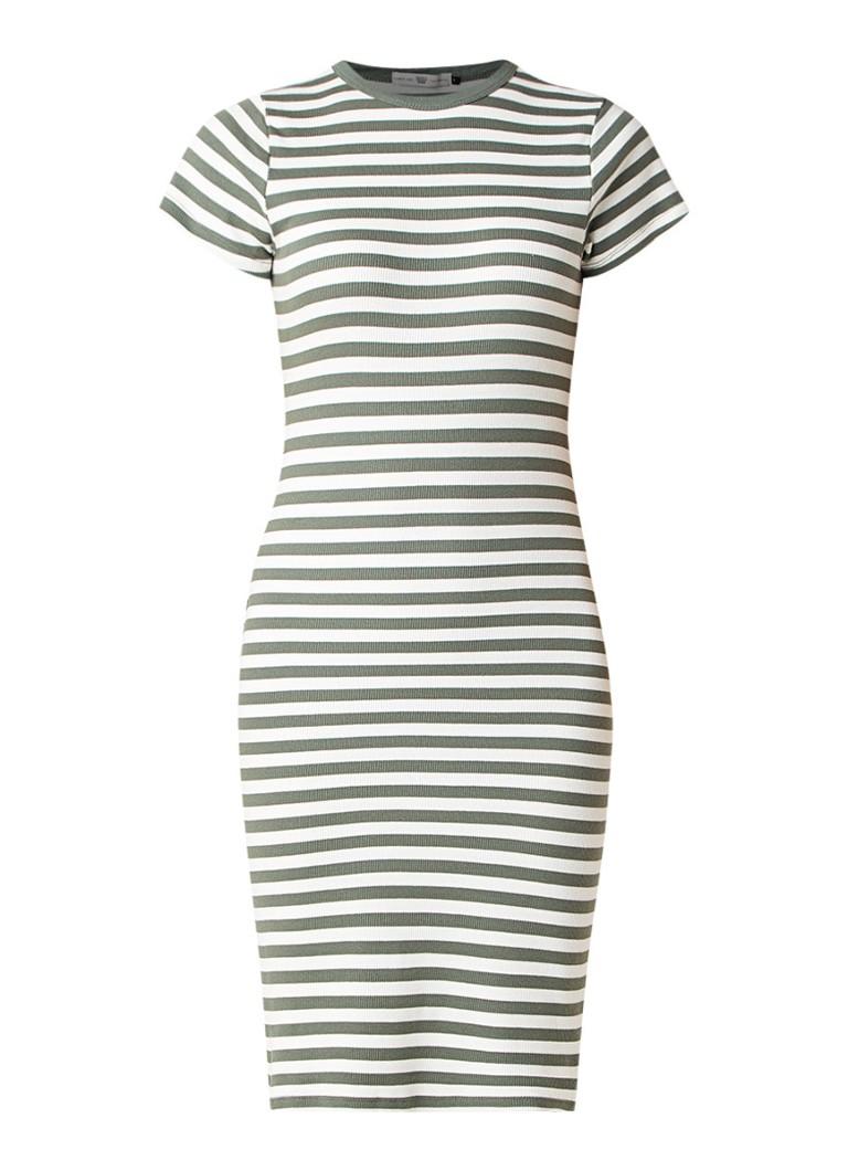 America Today Debby jersey midi T-shirt jurk met streepdessin legergroen
