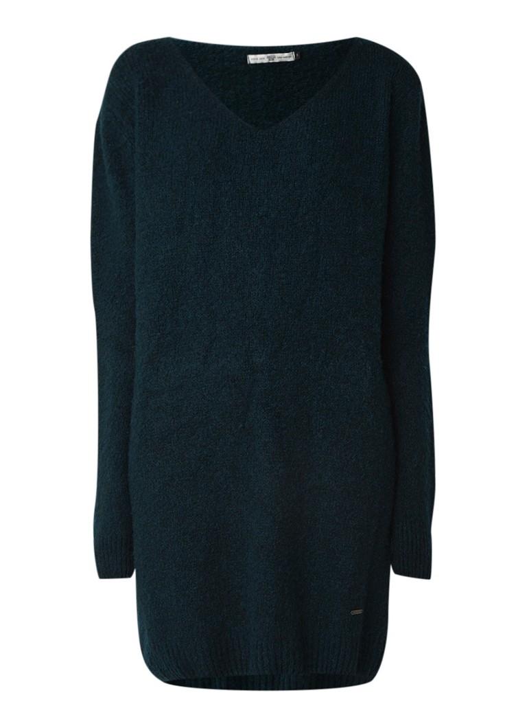 America Today Kylie gebreide trui-jurk in wolblend donkergroen