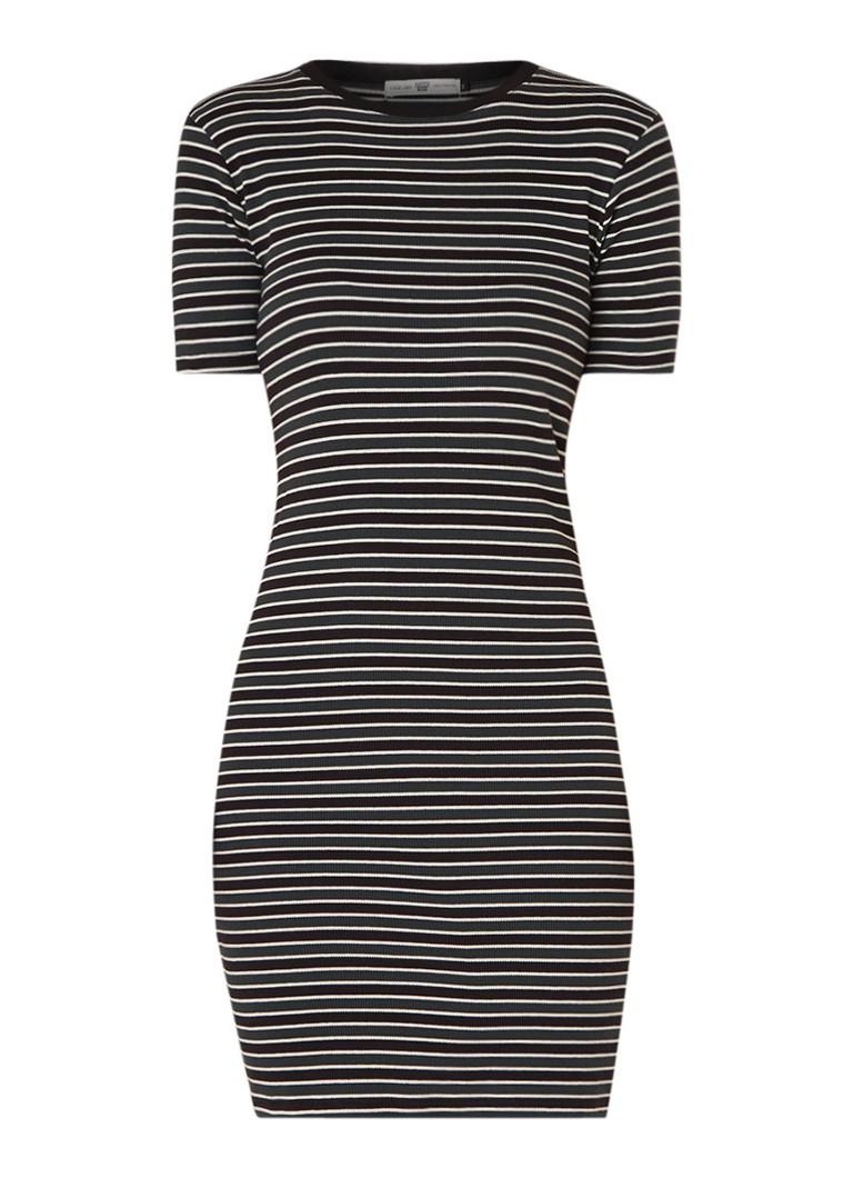 America Today Demi ribgebreide T-shirt jurk met streepdessin donkergroen
