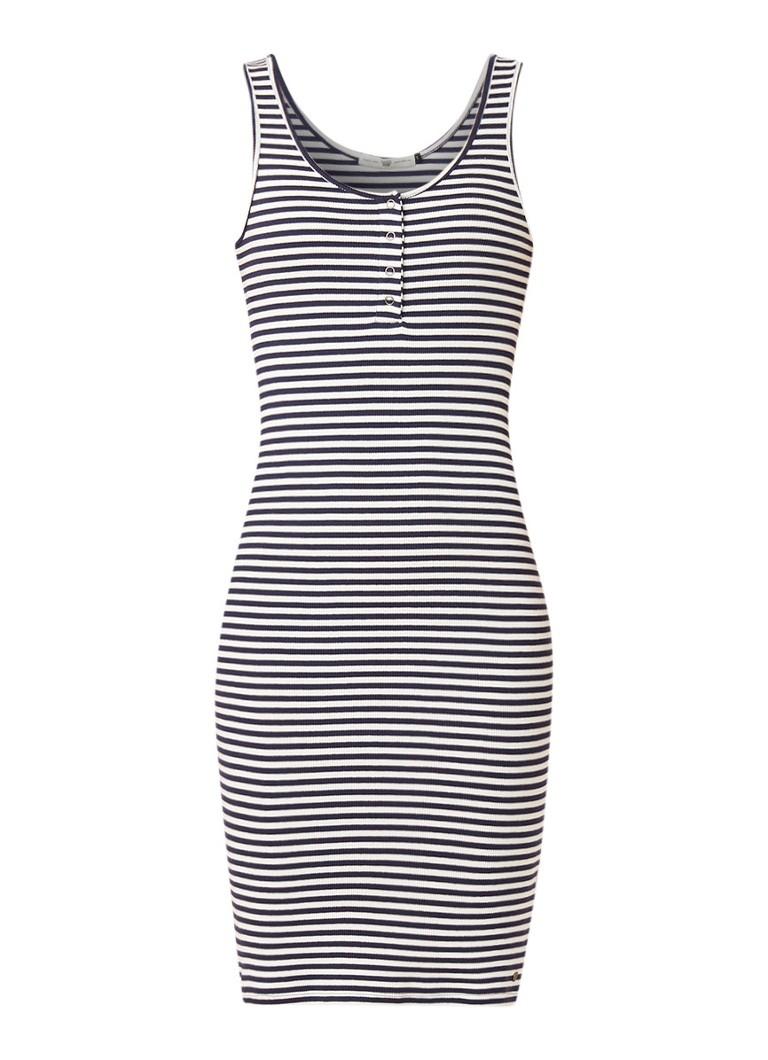 America Today Dorrit ribgebreide midi-jurk met streepdessin donkerblauw