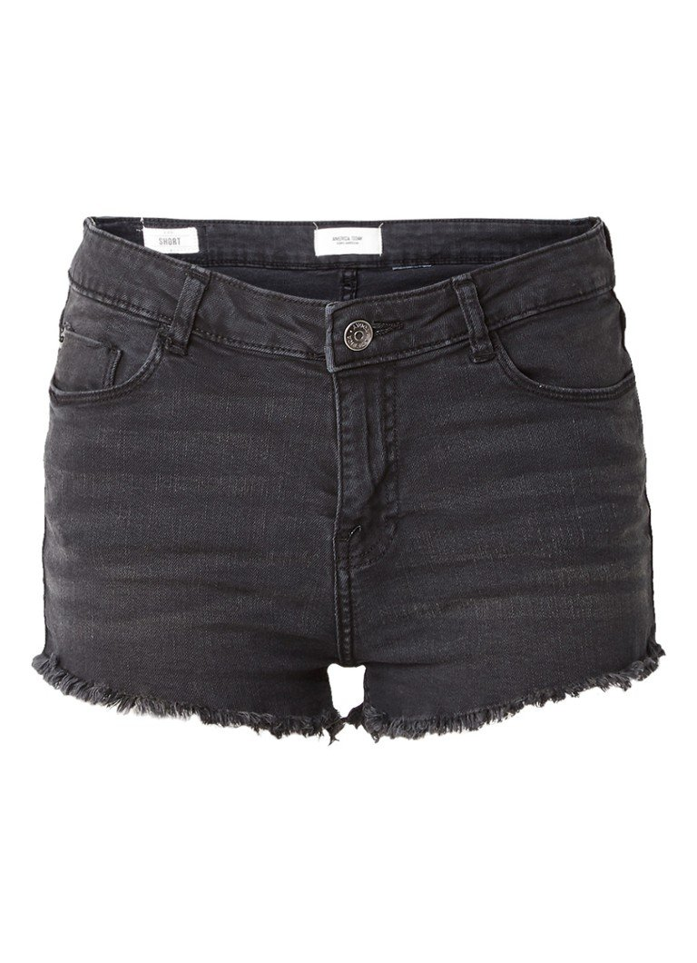 America Today Lou high rise jeans shorts met rafels
