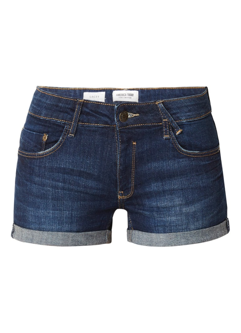America Today Lacey low rise denim shorts met omslag