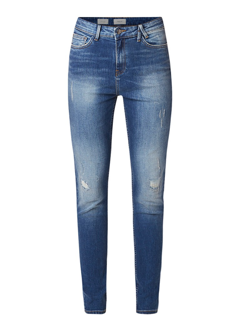 America Today Jenna high rise skinny fit jeans met destroyed detail