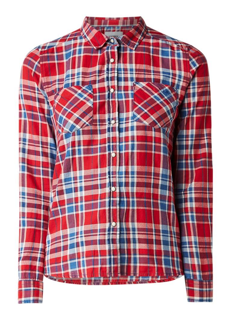 America Today Bobby blouse met ruitdessin
