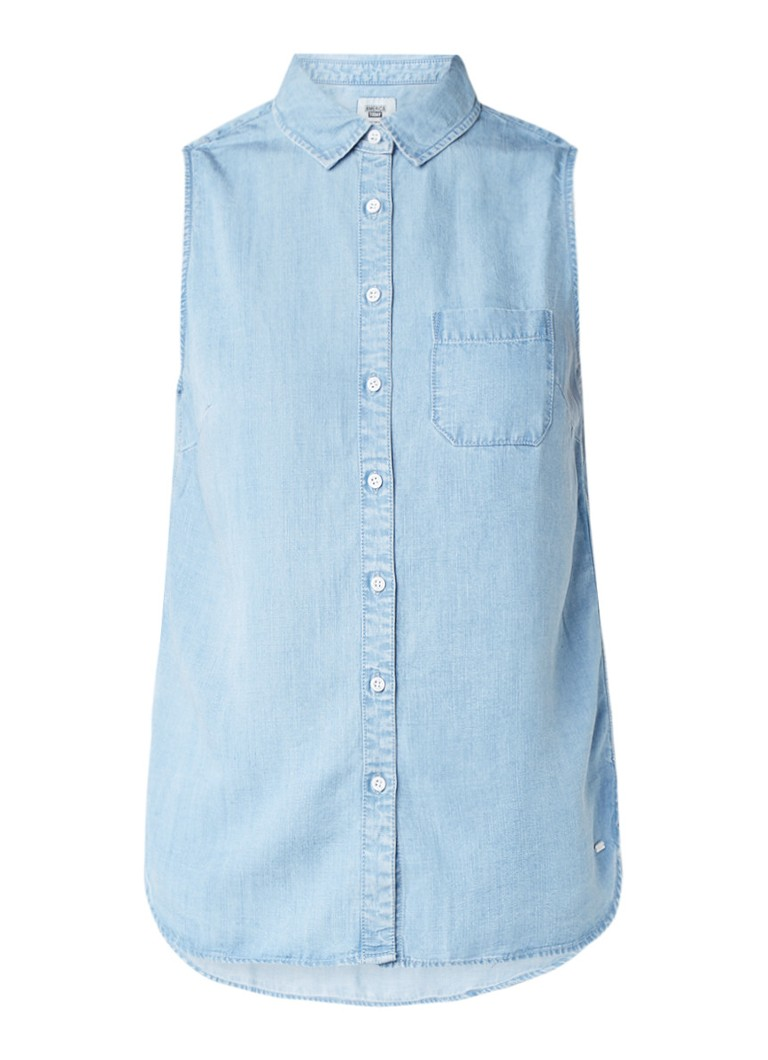 America Today Ivy mouwloze blouse van chambray