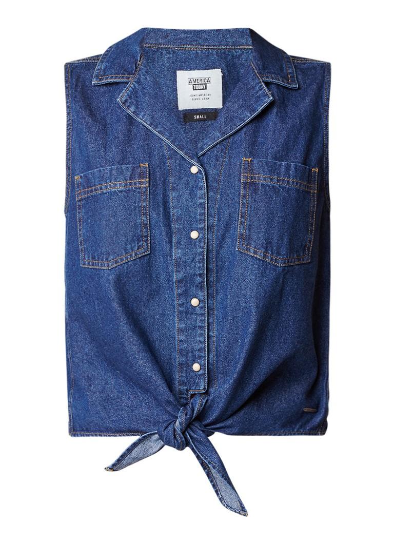 America Today Izzy mouwloze blouse van denim met strikdetail