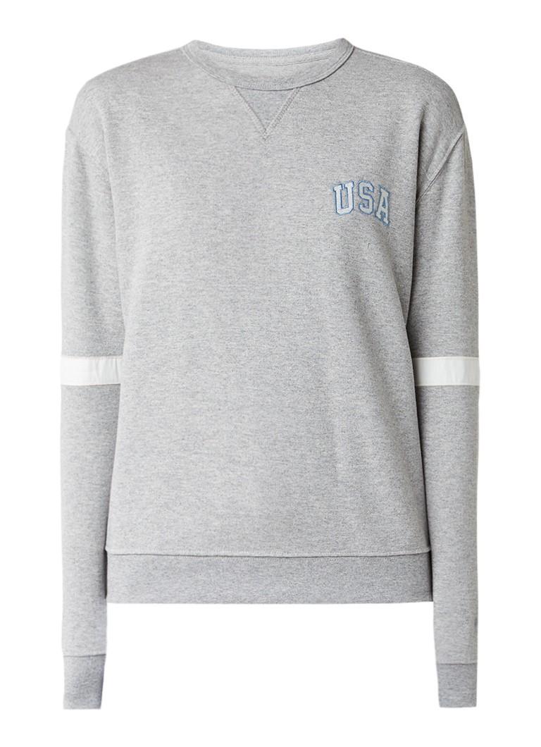 Truien en vesten America Today Sena sweater met applicatie Grijsmele