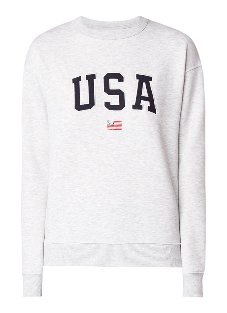 America Today Soel sweater met tekstapplicatie
