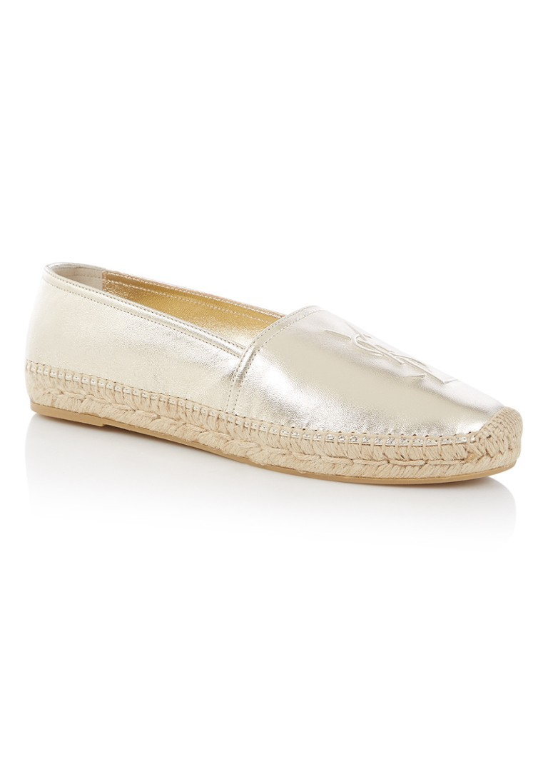 Saint Laurent Monogram espadrille van lamsleer in metallic