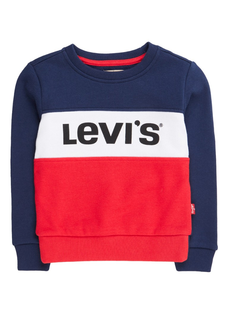 Levi's Sweater met logoprint en colour blocking