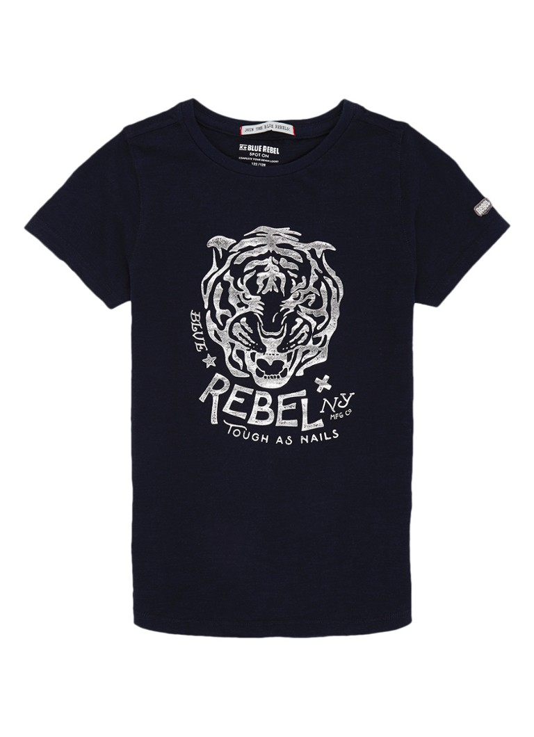 Blue Rebel T-shirt met metallic logoprint