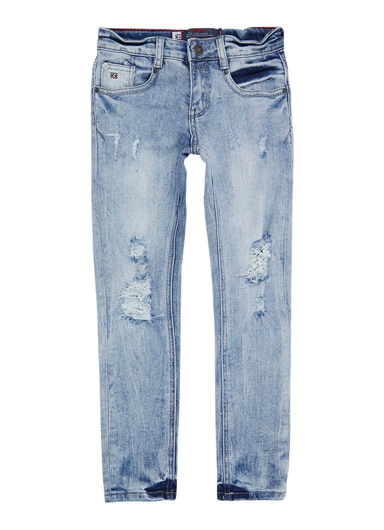 Blue Rebel Brick skinny fit jeans met destroyed detail