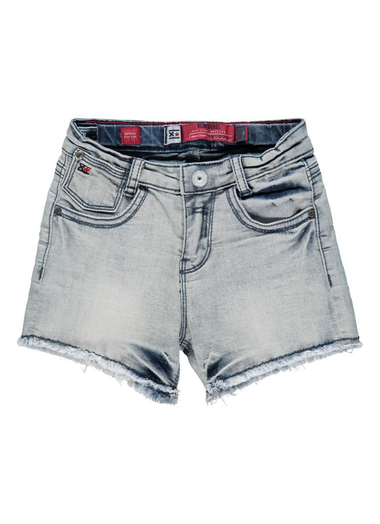 Blue Rebel Topaz high rise denim shorts met gerafelde zoom