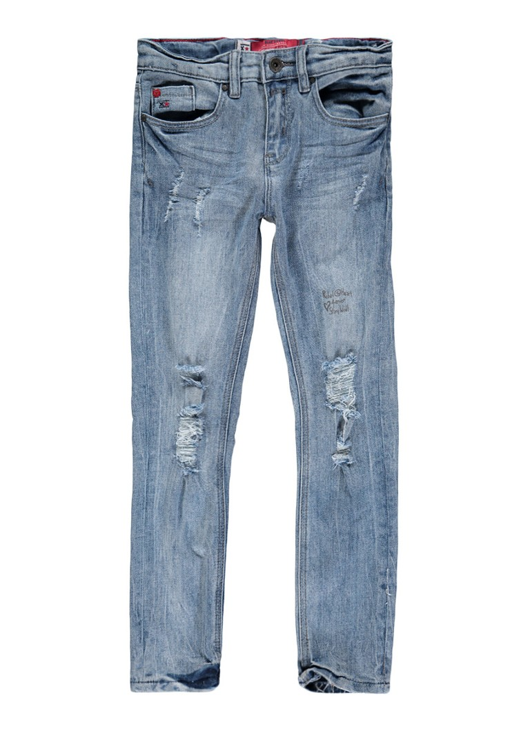 Blue Rebel Girlfriend jeans met destroyed details