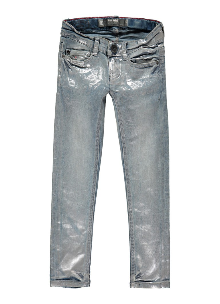 Blue Rebel Shaphire Supurb skinny jeans met metallic coating