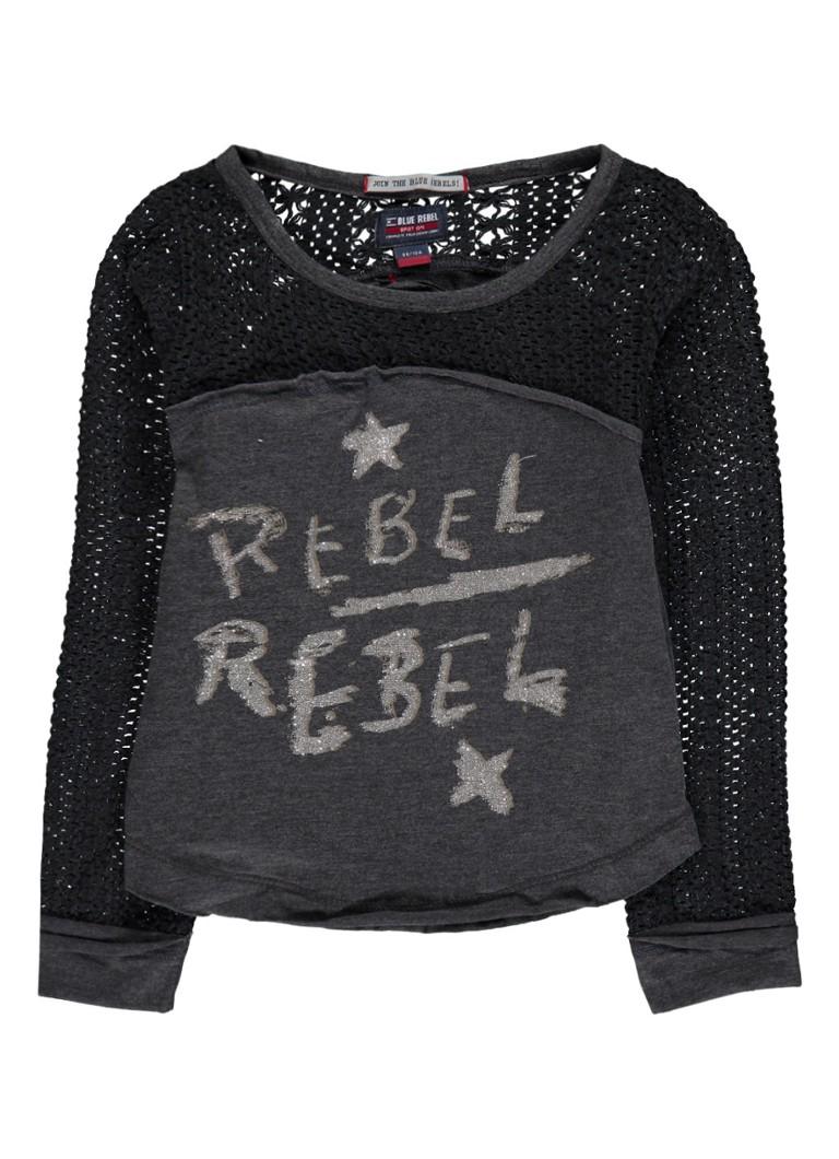 Tops Blue Rebel Longsleeve met glitter logoprint en opengewerkt detail Antraciet