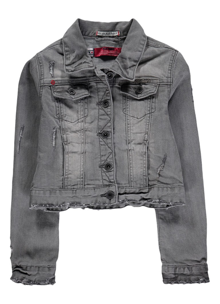 Blue Rebel Groupy denim jacket met destroyed details