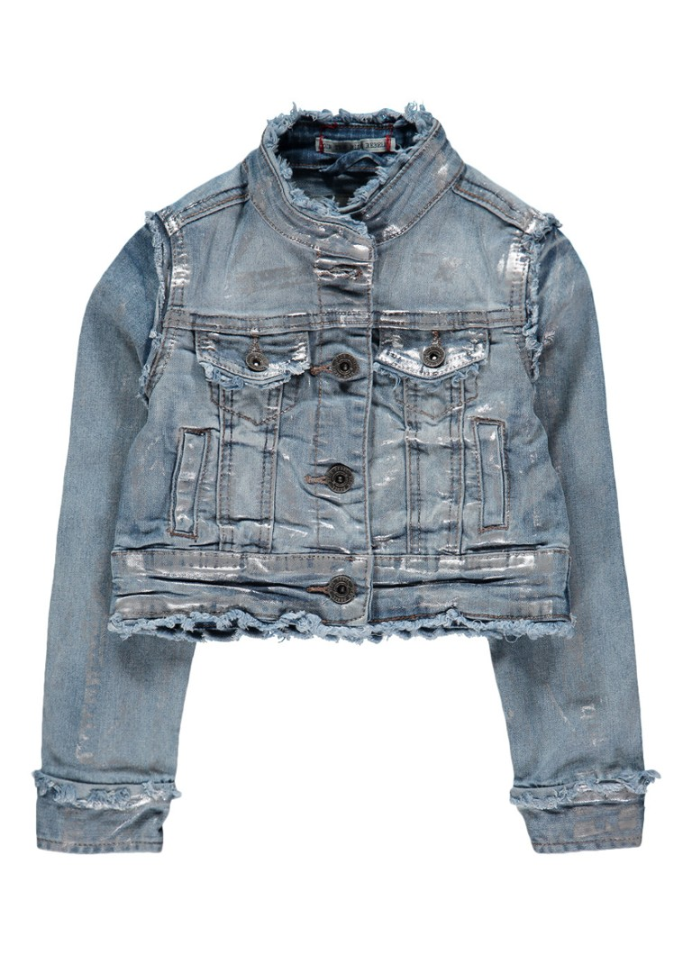 Babyface Denim jack met gerafelde afwerking en metallic finish