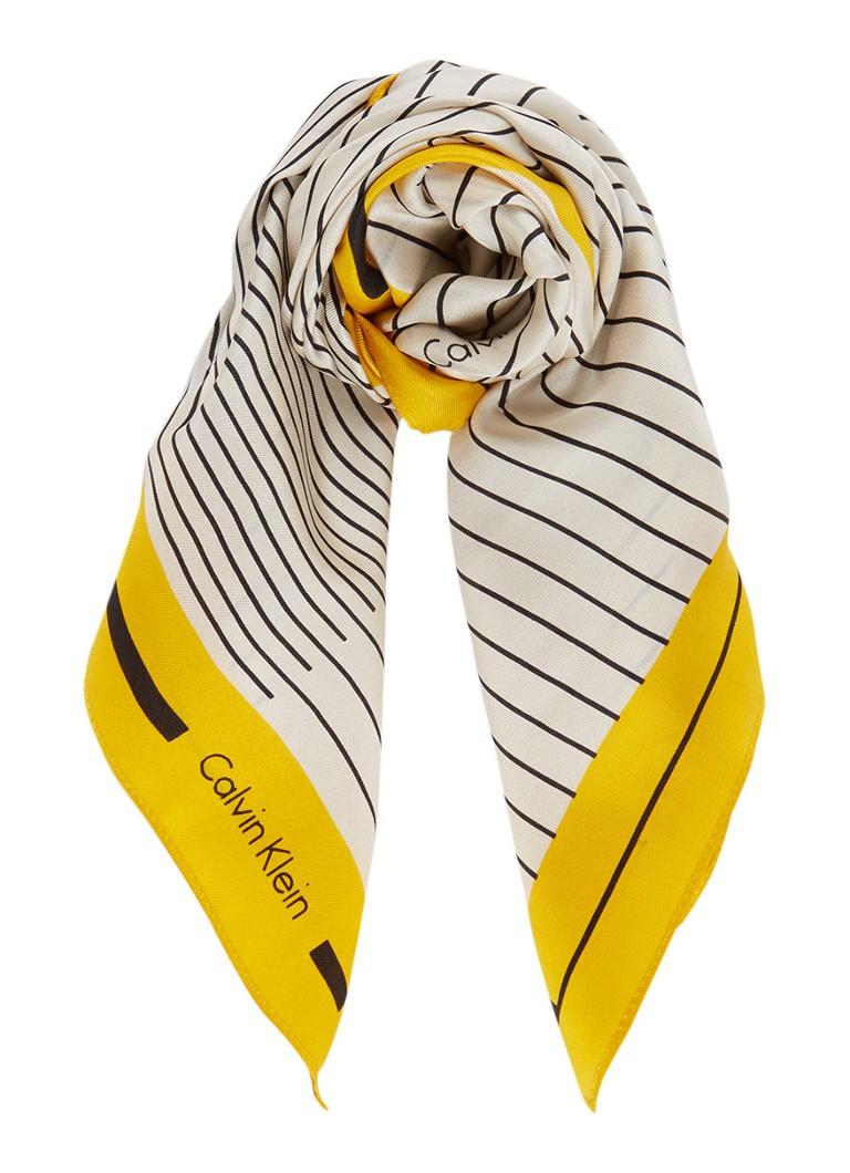 Calvin Klein Carré sjaal van zijde met streepdessin en logo 50 x 50 cm